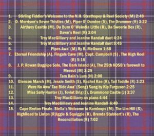 SRSNH: From Scotland to Cape Breton Tune List