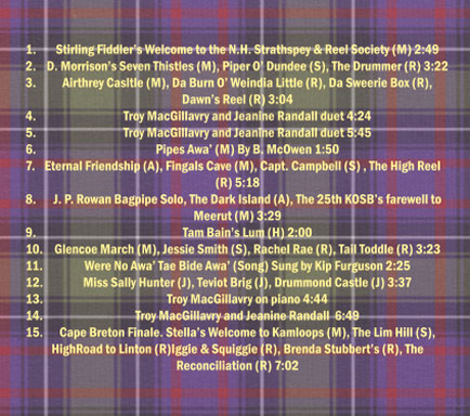 SRSNH CD: From Scotland to Cape Breton (Back Cover)
